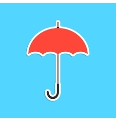 red umbrella sticker isolated on blue background vector image