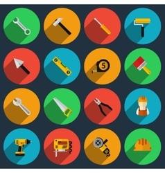 Tools flat icons set vector image