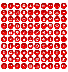 100 space technology icons set red vector