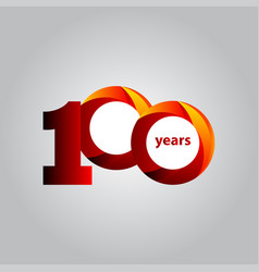 100 years anniversary red ball template design vector