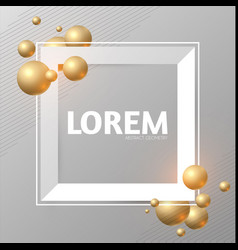 abstract paper banner with 3d golden spheres vector image