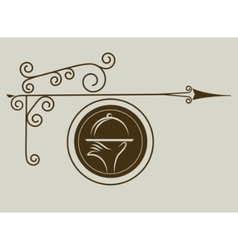 Antique street sign restaurant vector
