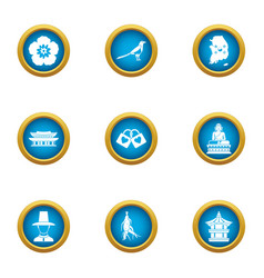 Asia store icons set flat style vector