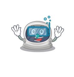 Astronaut helmet mascot wearing diving glasses vector