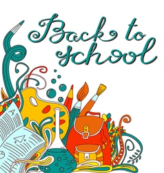 Back to school hand drawing calligraphy lettering vector