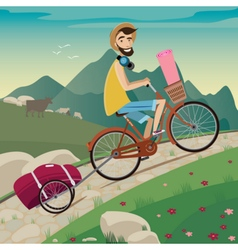 Backpacker in the cycling tour in the mountains vector