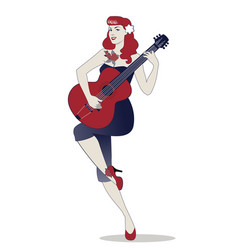 Beautiful and tattooed pin-up girl playing guitar vector