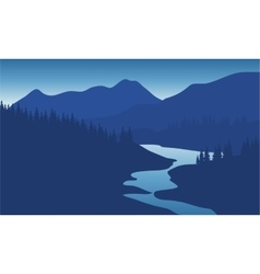 Beautiful mountain landscape with the river vector image