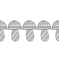 Black and white decorative mushrooms for vector
