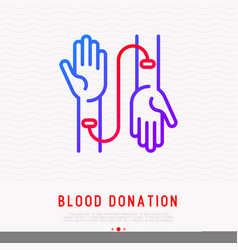 blood donation transfusion from one hand to other vector image