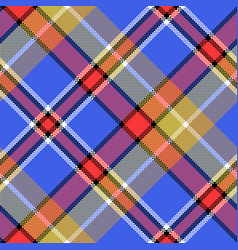 Blue madras diagonal fabric texture pixeled vector