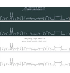 Bordeaux single line skyline profile banner vector