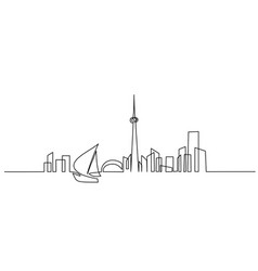building cityscape sail boat silhouette line art vector image