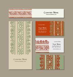 business cards design folk ornament vector image