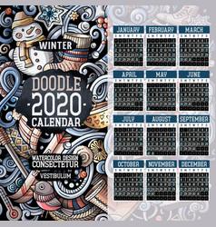 Cartoon colorful hand drawn doodles winter 2020 vector