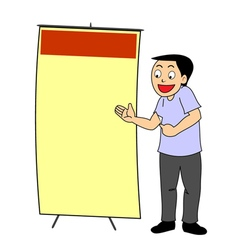 Cartoon man point and discuss ad poster vector
