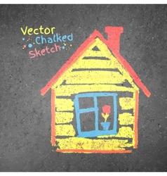 Chalk drawn house vector image