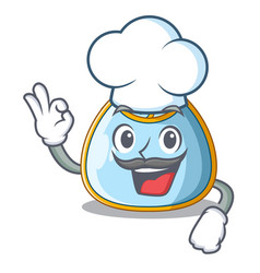 Chef cartoon baby bib on a clothesline vector