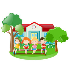 Children at school yard vector