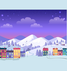 christmas town with decorated houses and hills vector image