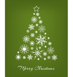 Christmas tree from white snowflakes on green vector image