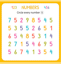 Circle every number five numbers for kids vector