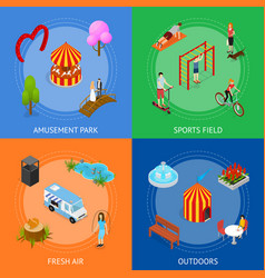 city public park or square banner card set 3d vector image