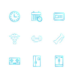 Clock calender card casette gym dumbell door vector