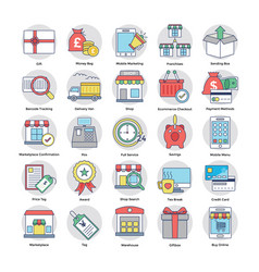 collection of shopping and commerce icons vector image