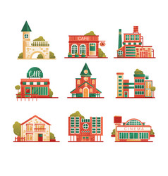 Collection of urban and suburban huses set vector