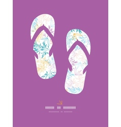 Colorful pastel branches flip-flops decor pattern vector image