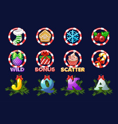 complete set christmas icons for slots vector image