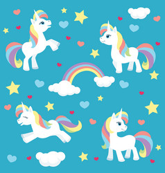 Cute unicorn pattern vector