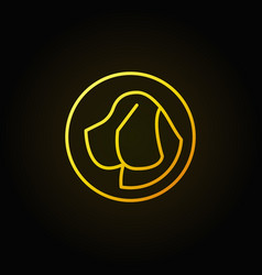 dog head in circle yellow icon vector image