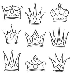 Doodle style set of crown hand draw vector