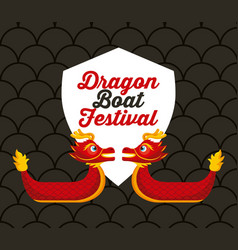 Dragon boat festival card geeting celebration vector