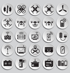 Drone icons set on plates background for graphic vector