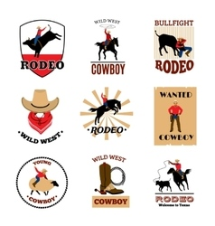 Emblems Set Of Rodeo vector