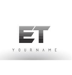 Et e t black and white horizontal stripes letter vector