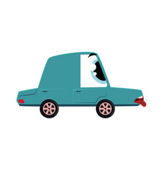 flat cartoon sick car character vector image