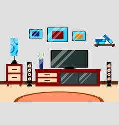 flat creative modern design living room workspace vector image