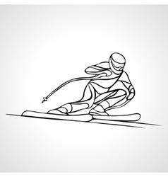 Giant Slalom Ski Racer outline silhouette vector image
