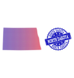 Halftone gradient map of north dakota state and vector
