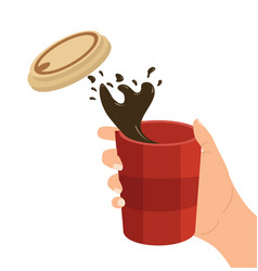 Hand holding paper coffee cup splash vector