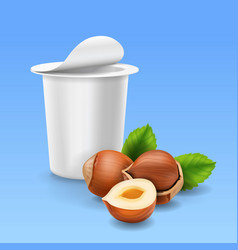 Hazelnuts and yogurt package realistic icon vector