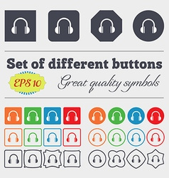 Headphones icon sign Big set of colorful diverse vector