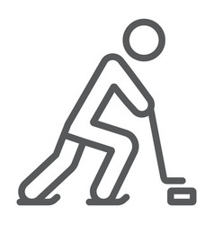 hockey player line icon sport and skate ice vector image