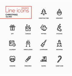 Holidays theme christmas - line design icons set vector