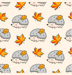 Kawaii hedgehogs autumn maple leaves vector