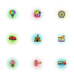 Kids games icons set pop-art style vector